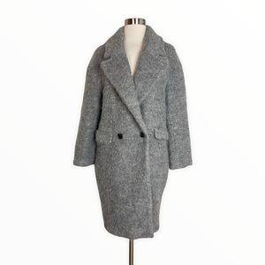 Zara Women's Gray Wool Fuzzy Oversized Coat